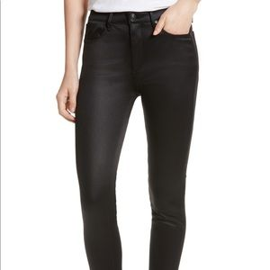 Rag & Bone Black Sateen High Rise Skinny Jeans
